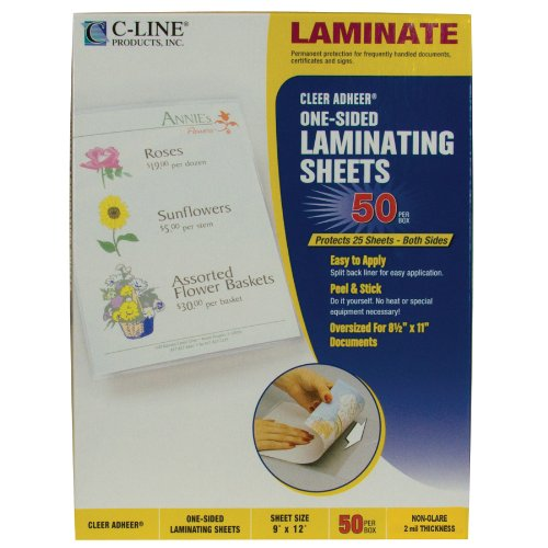 C-Line Heavyweight Cleer Adheer Laminating Film Sheets, Non-Glare, 9 x 12 Inches, 50 per Box (Non Glare Plastic)