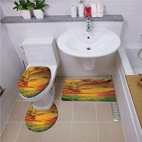 Bath mat set Round-Shaped Toilet Mat Area Rug Toilet Lid Covers 3PCS,Landscape,Mystical View Sunset Off the Coast of California Slightly Wavy Sea View,Green Orange Sepia ,Bath mat set Round-Shaped ()