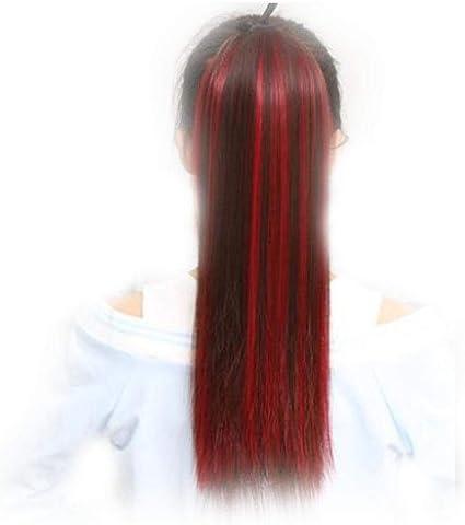 Peluca de color rojo vino que resalta la cola de caballo con ...