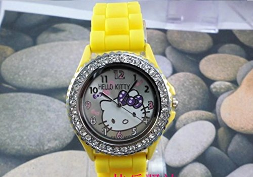 (Kitty Wrist Watch YELLOW Silicone Band and Rhinestones with Gift Box)