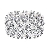 EVER FAITH Elegant Bridal Eye Shaped Stretch Bracelet Crystal Cream Simulated Pearl Clear Silver-Tone