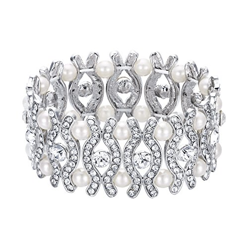 EVER FAITH Elegant Bridal Eye Shaped Stretch Bracelet Crystal Cream Simulated Pearl Clear -