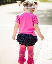 RuffleButts Infant / Toddler Girls Denim Ruffled Diaper Cover - Denim - 0-3m