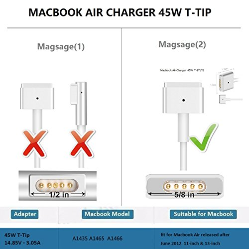 Macbook Air Charger,Replacement 45W Magsafe 2 Power Adapter T-Tip Magnetic Connector Charger for MacBook Air 11 inch and 13 inch (45W-T) by E-POWIND (Image #1)