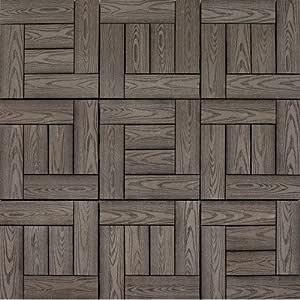 """Composite 12"""" x 12"""" Interlocking Wood Grain Deck Tiles in"""