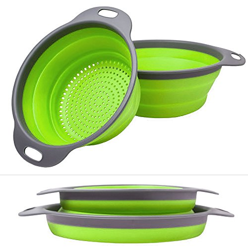 Fihco Collapsible Colanders 2-Pack Set, Over the Sink Colander [8