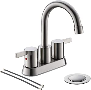 Brushed Nickel 4 Inch 2 Handle Centerset Lead-Free Bathroom Sink Faucet, with Copper Pop Up Drain and Two Water Supply Lines, BF015-1-BN