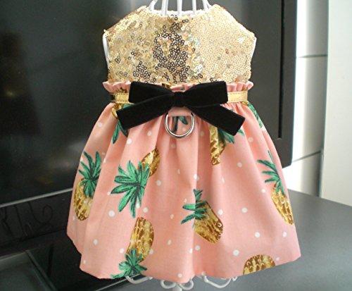 (Pet Dog Apparel Clothing Clothes Gold Sequin Pineapple Harness Dress XXXS XXS XS Small Medium Large (Large, Black Velvet Bow))