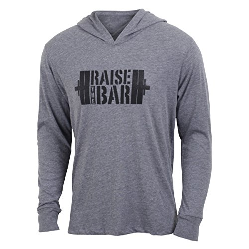 Jumpbox Fitness Raise the Bar - Gray - Men's Barbell Weightlifting Long Sleeve Triblend Hoody Workout Shirt