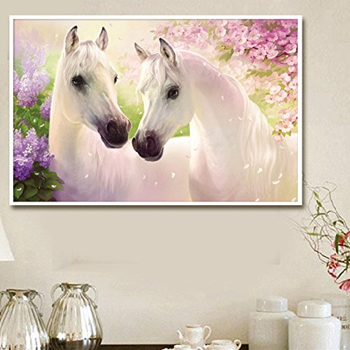 Slaxry Cross Stitch Kit 5D Diamond Rhinestones DIY Handmade Embroidery Painting Home Decorations White Horses Lover with Flower