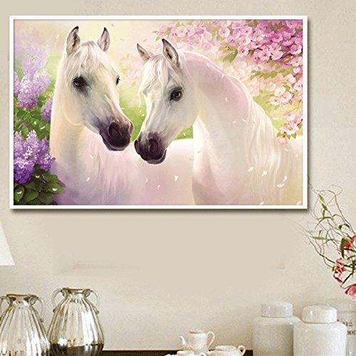 Slaxry Cross Stitch Kit 5D Diamond Rhinestones DIY Handmade Embroidery Painting Home Decorations White Horses Lover with Flower