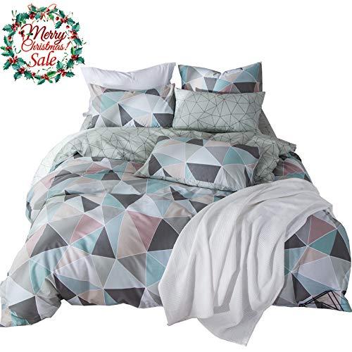 VM VOUGEMARKET Geometric Duvet Cover Set Queen,100% Cotton Reversible Colorful Duvet Cover Matching 2 Pillow Shams,3 Pieces Diamond Bedding Set-Full/Queen,Diamond