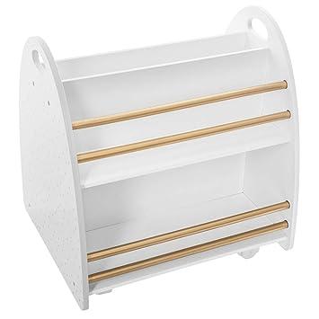 Atmosphera – Niedriges Bücherregal fürs Kinderzimmer, Rollen, beidseitig  (Weiß/Gold)