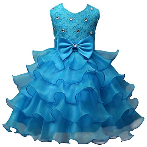 Dress Blue Ruffle Girls (Csbks Girls Wedding Party Dress Pageant Baby Ruffles Tulle Princess Dresses 4-6 Months Light Blue)
