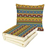 iPrint Quilt Dual-Use Pillow Aztec Traditional Classic Tribal Style Folk Motif with Sun Figure Ancient Mexican Culture Image Decorative Multifunctional Air-Conditioning Quilt Multi