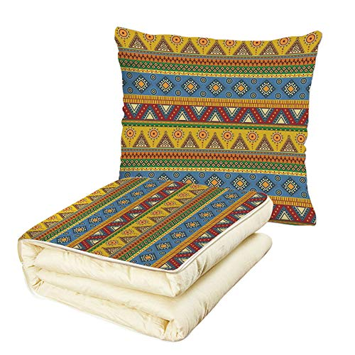 iPrint Quilt Dual-Use Pillow Aztec Traditional Classic Tribal Style Folk Motif with Sun Figure Ancient Mexican Culture Image Decorative Multifunctional Air-Conditioning Quilt Multi by iPrint