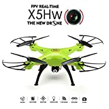 Drone With Camera - Syma X5HW WIFI FPV Quadocpter With Camera 2.4G 4CH 6Axis High Hold Mode Remote Control Quadcopter Drone RTF Mode 2 (Green)