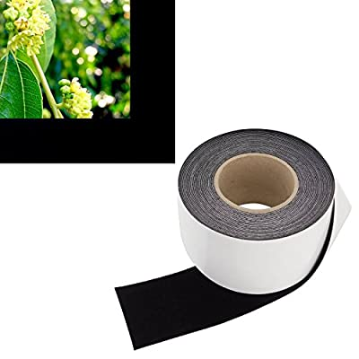 Highest Contrast Projector Screen Tape - Black Velour Felt Material (3-Inch Wide x 60-Foot Long Roll) Cut To Size - Premium Grade w/ Adhesive Backing - DIY Kit for Projection Paint Border Frame