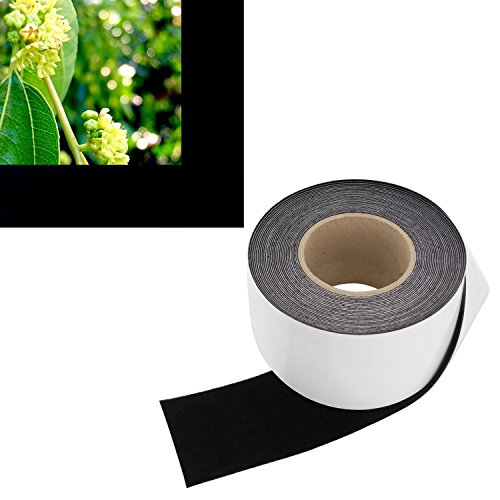 Fixed Velvet Frame Frame - 3 in x 60 ft - Vibrancy Enhancing Projector Felt Tape Border - by ConClarity - Deepest Black Ultra High Contrast Felt Tape for DIY Projector Screen Borders Absorbs Light, Brightens Image & Stops Bleed