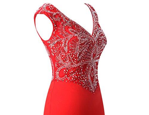 Bbonlinedress Vestido Largo Elegante V Cuello Con Cuentas Rojo Ocscuro
