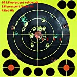 GearOZ Fluorescent Yellow Shooting Target Sticker Paper- High Visibility Targets 3 Reactive Color for Long&Short Range Shooting,Show Your Shots Instantly - Airsoft Gun-Pistol-Air Rifle