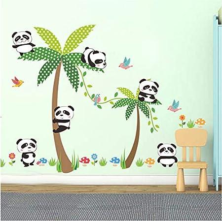 zpbzambm Animales De Dibujos Animados Panda Pájaros Flor De ...