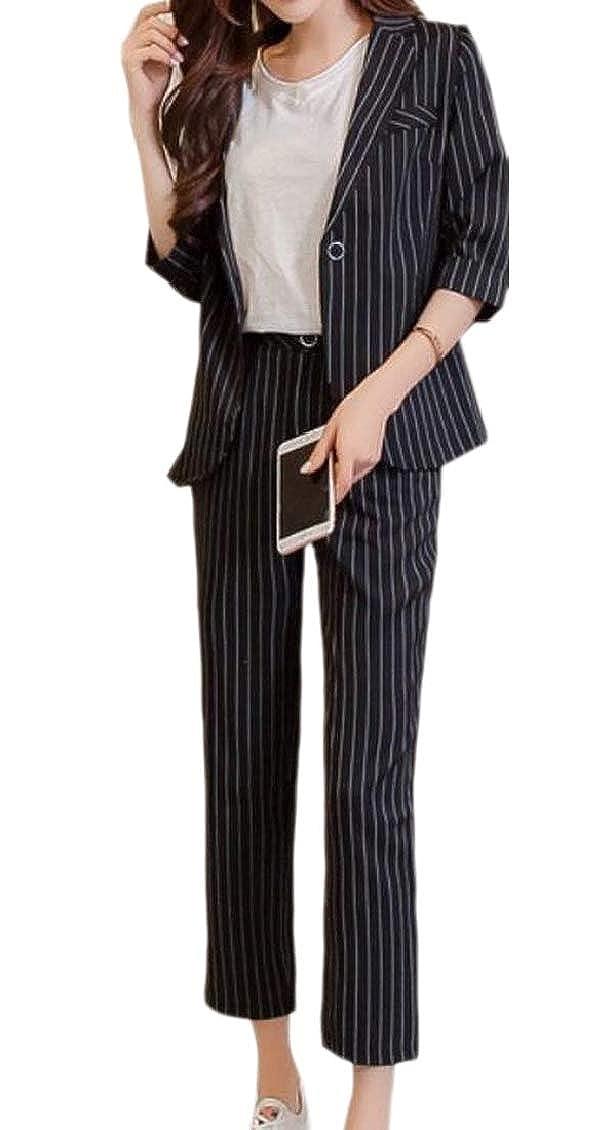 Black TDCACA Women's Striped Classic Pants Two Piece Set Slim Suit Set Outfits