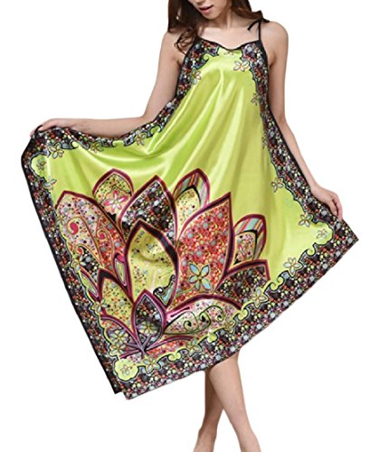 (CrazyDay Womens Charmeuse Sling Relaxed Vogue Flower Printed Irregular Hem Pajama Robe Green OS)