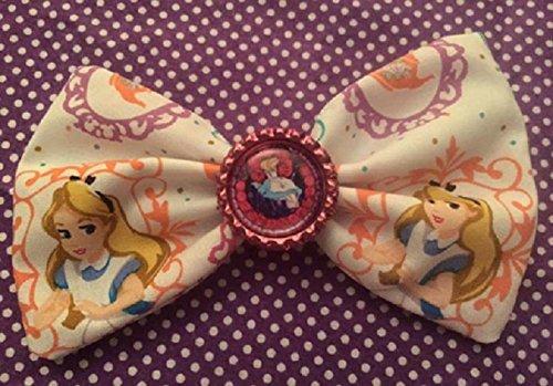 (Disney Alice In Wonderland fabric hair bow with bottle cap center, Alice Tea Party hair)