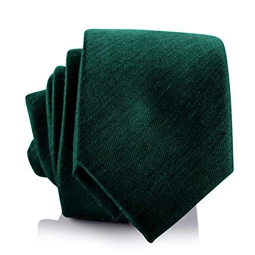 Fly & Dapper Handmade Solid Green Men's Necktie   2.5