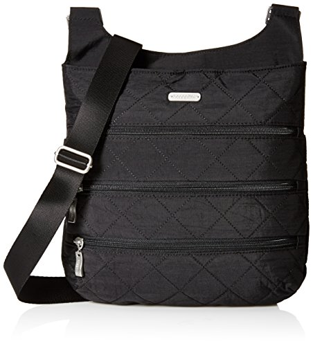 Baggallini Quilted Big Zipper Bagg with RFID, Black
