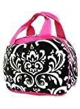 Damask Print Insulated Lunch Tote Bag w/ Pink Trim