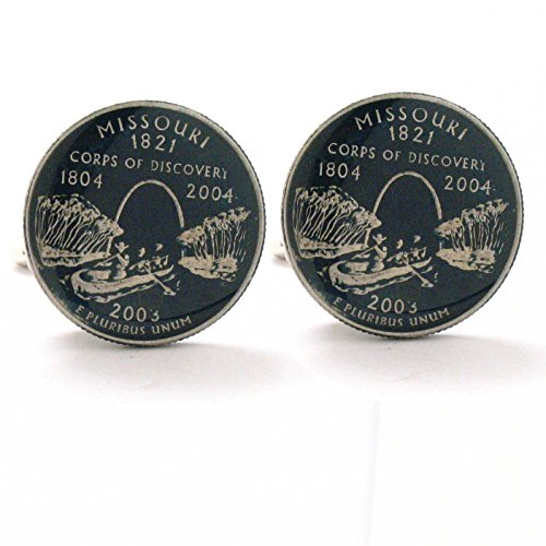 Coin St Louis (Missouri Quarter Cufflinks Suit Flag State Coin Jewelry USA United States America St. Louis Kansas City)
