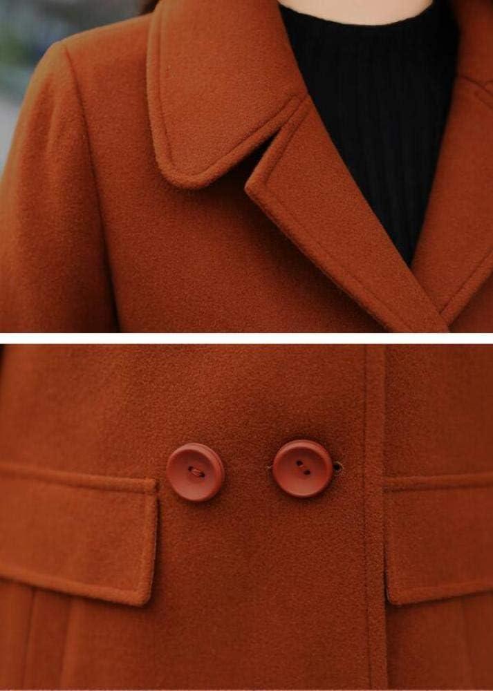 AB Automne Et Manteau De Laine d'hiver, Dames Chaude Veste en Coton, Automne Et Hiver Classique Revers Manteau Manteau en Laine Femme, Dames Automne Et Hiver Coupe-Vent Caramel