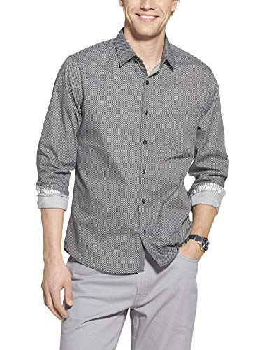 - Geoffrey Beene Men's Slim Fit Easy Care Long Sleeve Button Down Shirt, Black Geometric Print, Large