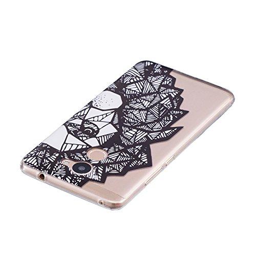 Funda Huawei Honor 9 Lite Carcasa, Mosoris Huawei Honor 9 Lite (5.65 Pulgadas) Suave Transparente TPU Silicona Parachoques Tapa para Xiaomi Mi 5X Ultra Delgado Flexibilidad Protectora Caso Anti-Aranaz Cara de león
