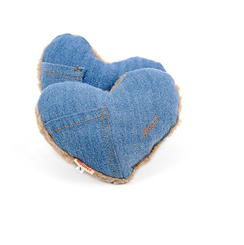 (Stock Show 2Pcs Cute Jean Cloth Lambwool Pet Pillow Small Squeak Squeaker Squeaky Tooth Cleaning Stuffed Molar Toy for Small Medium Dog/Puppy/Pup/Cat/Kitty, Heart Shape)