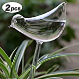 Calunce 2pcs Small Hand Blown Clear Glass Self Watering Aqua Globes (large bird)