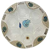 Seder Plate Round - Floral Blue Pomegranate - 14'' D