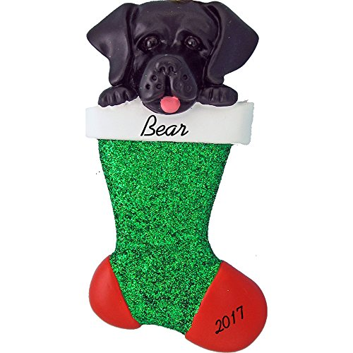 "Dog in Stocking Personalized Christmas Ornament (Black Labrador) - Handpainted Resin - 3.5"" Tall - Free Customization by Calliope Designs"