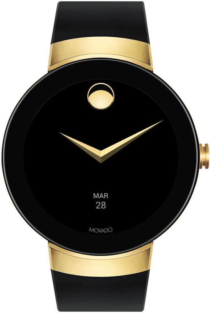 Movado Connect Digital Smart Module Yellow Gold Smartwatch, Gold/Black Strap (Model 3660014)