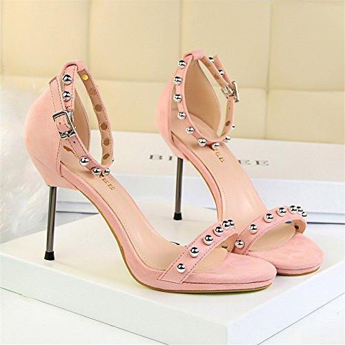 z&dw Elegantes tacones de tacón alto resistente al agua de mesa de terciopelo superficies de metal perlas con sandalias Rosa