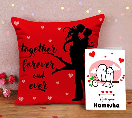 TIED RIBBONS Valentine for Girlfriend Boyfriend Love Fiancee - Gift Combo Pack of Together Forever and Ever Decorative Throw Pillow (16 inch X 16 inch) with Insert and Greeting Card