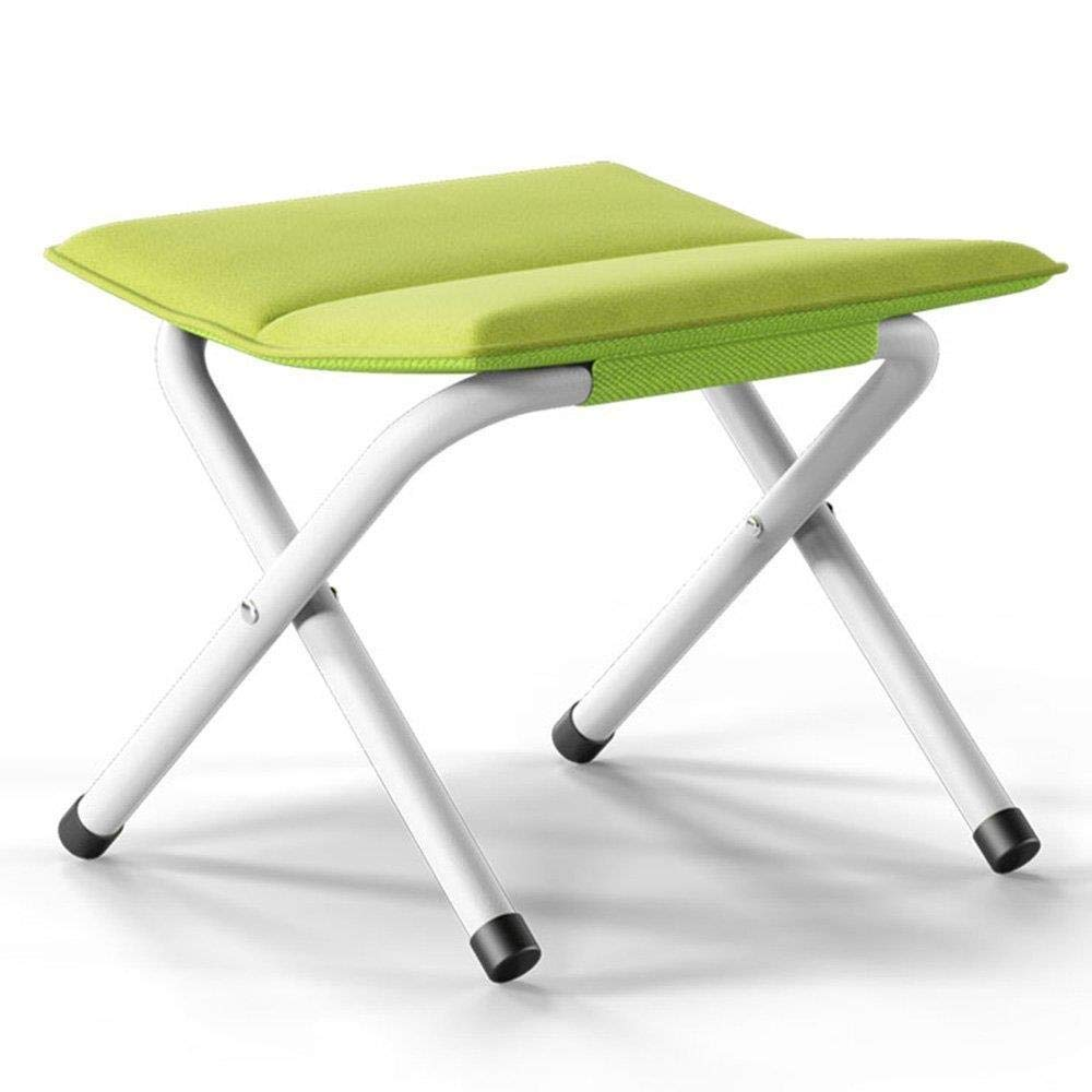 Green Folding Stool, Sofa Stool Small Footstool Change shoes Bench Fabric Mazza Seat Chair (color   pink Red)