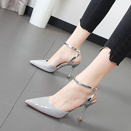 Qiqi ranurada y correa high Xue sandalias versátil heels Zapatos Silver chica de de punto mujer luz fggBqpda
