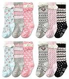 6 Pairs Baby Girl Knee-High Socks Toddler Princess Cute Non-skid Socks 8-36M (6 Colors)