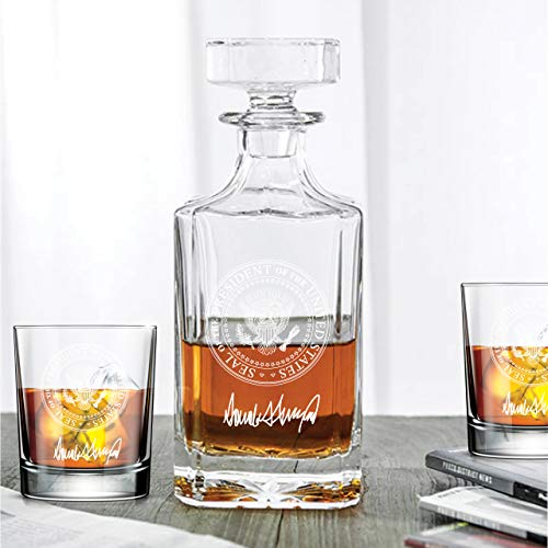 Abby Smith - Presidential Seal with Trump Signature Decanter and Rocks Glasses - Set 3PCS