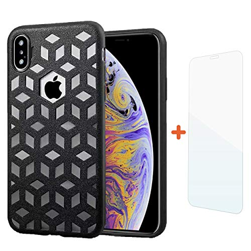 Comet Cell Phone - COMET iPhone Xs Max Case, Embossed Leather Pattern TPU Soft Cover, Ultra-Thin Protective Shockproof with Precise Holes | 6.5 Inch | + Free Tempered Glass and Wristband Gift (Black)