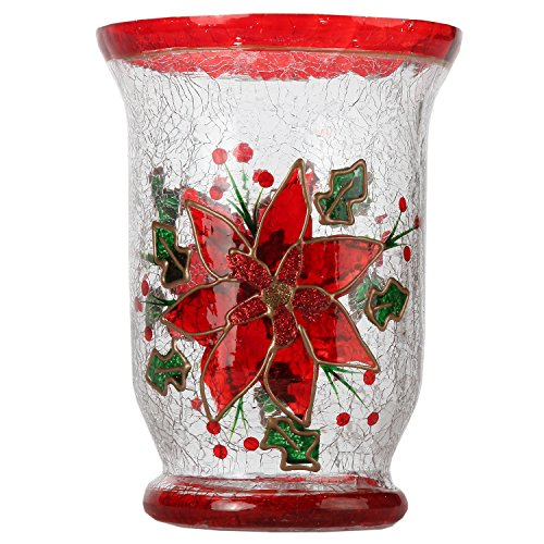 Home-X Hand Painted Crackle Glass Poinsettia Candleholder, Pillar Candle ()