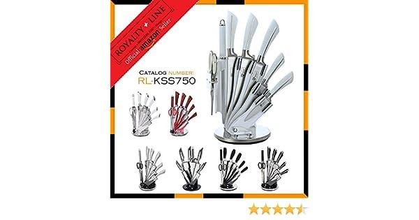 Royalty Line RL-KSS-Juego de 8 cuchillos de acero inoxidable con soporte rotatorio Afilador de cuchillos y tijeras